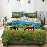 Juego de funda nórdica beige, varios tipos de caballos comiendo hierba en el campo, paisaje de montaña, paisaje rural, estampado, juego de cama decorativo de 3 piezas con 2 fundas de almohada, fácil c