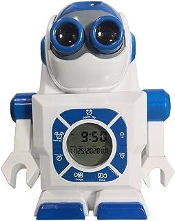 Tree-de-Life Creative Space Robot Projection Alarm Clock Rolig tecknad klocka Student Alarm Clock Presentdekoration vit + blå