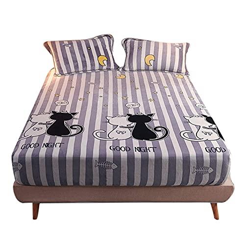 Sábana de cama, sábana ajustable de felpa de terciopelo extra suave extra suave de microfibra, sábana de cama térmica de felpa suave y esponjosa súper cálida Sábanas ajustables Funda de colchón cálida