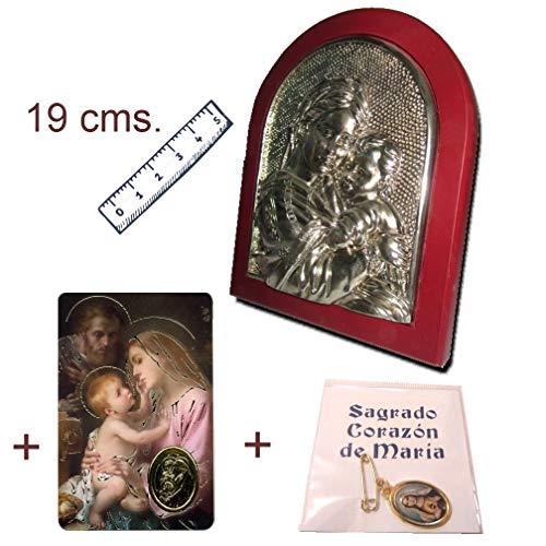Heraldys.- Icono Plateado en Base de Madera. De Regalo Medalla Sagrado Corazón de María y Estampa Sagrada Familia