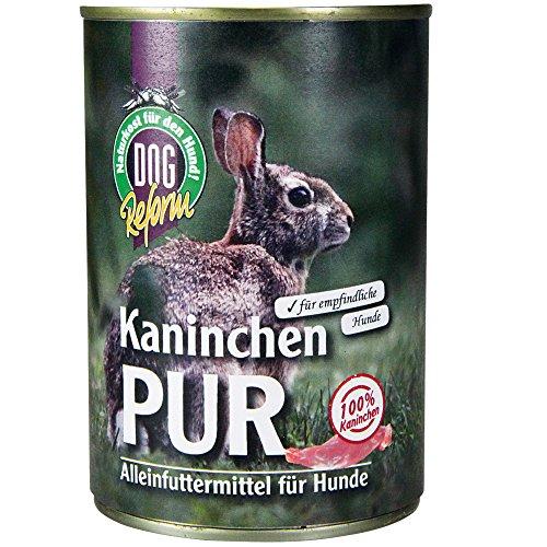 Schecker Dogreform Kaninchen PUR Gr: 6 x 410g getreidefrei glutenfrei aus frischem Fleisch und wertvollen Innereien wie Leber Lunge Magen