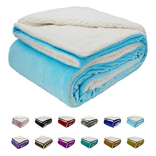 """Azurblau Sherpa Fleece Decke 130(50"""") X150(60"""") cm, Wurfgröße Top Luxus Luxus doppelseitige Sherpa Flanell Decke für Sofa und Haustier, Exquisite Bequeme Azurblau Bettdecke"""