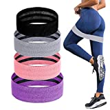 COVVY Resistance Bands Exercise Bands for Legs and Butt, 3 Levels Non-Slip Fabric Booty Band Workout Band Resistance Loops Hip Thigh Strength Training Band Set for Women, 4 Pack
