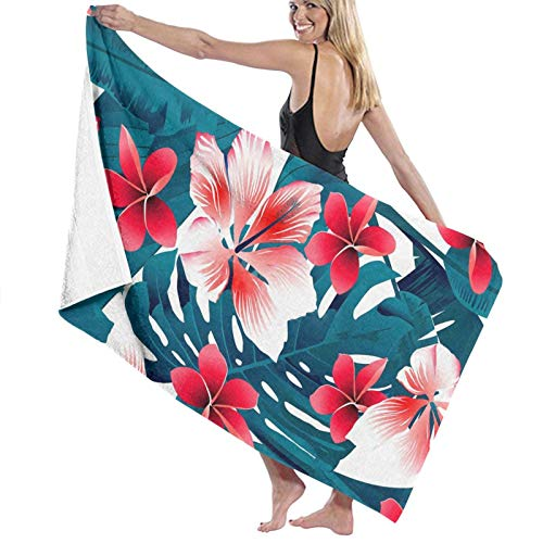 Microfibre Beach Towel Large Red and White Tropical Hibiscus Flowers - 130x80cm Lightweight & Dry Microfibre Towel - Perfect as Beach Towel & Travel Towel
