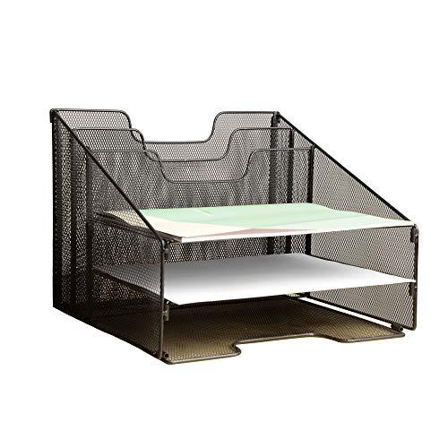 VANRA Vassoio organizzatore in metallo per scrivania, organizer don 3 vassoi, portacorrispondenza, 2 sezioni verticali (Nero)