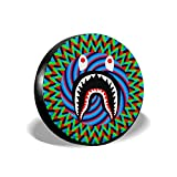 NiYoung Spare Wheel Tire Cover for Jeep Trailer RV SUV and Many Vehicle, 14 15 16 17 inch Tire Cover, Weatherproof Portable Wheel Cover - Bright Trippy Bapes Shark Art
