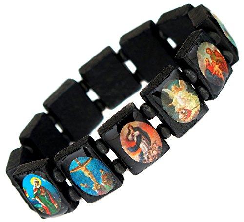 Lot De 2 Bracelet Religieux Religion En Bois Saints Jesus Christ Icone Noir