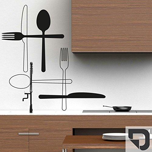 DESIGNSCAPE® Wandtattoo Besteck | Wandtattoo fürs Esszimmer Küche bis 120 cm (Höhe einzeln) dunkelgrau DW807336-S-F7