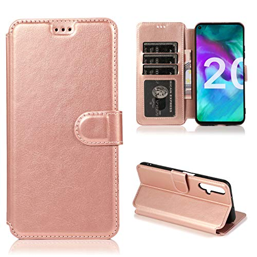 ETbotu Handyhülle – Bumper-Hülle, kompatibel mit Huawei Honor 20 Handyhülle PU + TPU Innenhülle mit Kartenschlitz Handyhalterung rose gold