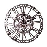 Reloj de pared de jardín al aire libre, engranaje industrial grande Reloj de pared Reloj de jardín Relojes de jardín al aire libre impermeable Iron Número romano Reloj exterior Reloj exterior Reloj de