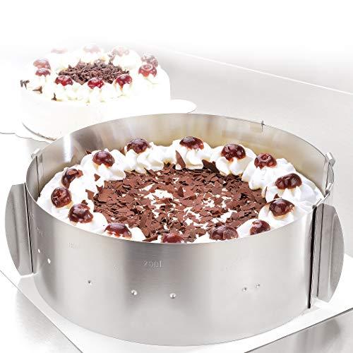 4smile Tortenring verstellbar – Edelstahl, 8,5 cm hoch – Made in Germany Tortenring, Klammern zum Fixieren – robuster Springform-Ersatz ideal für Tortenkreationen, 16 bis 30 cm, Matt-silber