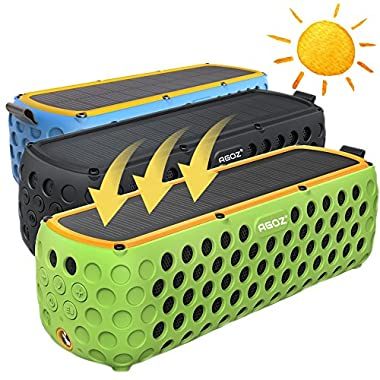 Solar Bluetooth Speaker, AGOZ 30+ Hours Playtime Portable Wireless Stereo Bass IP65 Splashproof for Outdoor Camping,Biking,Shower For Apple iPhone X, 8 Plus, 8,7,6S, Samsung Note 8, S9, S8, S7 (Blue)