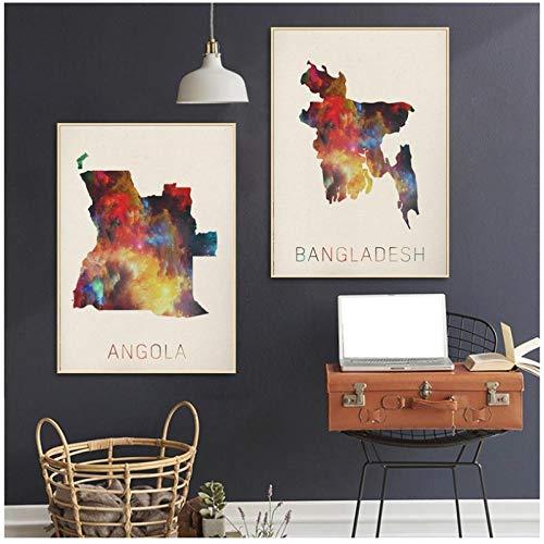MULMF Angola Bangladesh Aquarel Kaart Kunst Canvas Poster Muurfoto's voor Woonkamer Geen Frame- 50X70Cmx2 Geen Frame