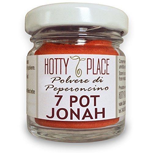 7 POT JONAH Raro Fruttato Piccantissimo POLVERE Piccante ESTREMO peperoncino 10g vaso