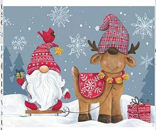 Dipingere con i Numeri Natale Senza Occhi Pittura su Tela Fai-da-Te Adulti Bambini Uso Acrilici Dipingere e Pennelli Rendere Arte Usato per Decorazione per la casa,40x50cm Senza Cornice
