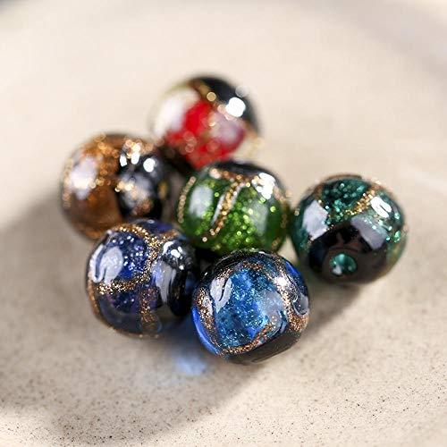 Geglazuurde losse kralen, ronde kralen, handgemaakte doe-het-zelf productie, kralen, draag armbanden kettingen met kralen, spacer kralen, accessoires materialen-Donkerblauw / 2