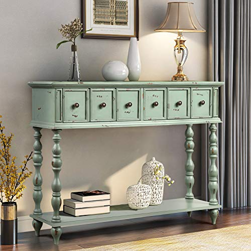 Console Table Ancent Sofa Table Entryway Table for Hallway with Two Drawers and Bottom Shelf Antique Design Sideboard Table for Living Room,Hallway,Light Minit Green