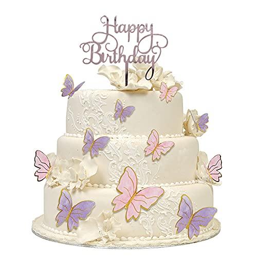 CCUCKY Adornos para Tartas de Mariposa, Happy Birthday y Decoración de Papel para Tartas de Mariposa para Fiesta de Cumpleaños, Boda, Postre
