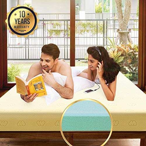 Sunday Memory Foam Mattress. Medium Firm. Queen Size - 60 x 78 x 6 Inch, Off-White