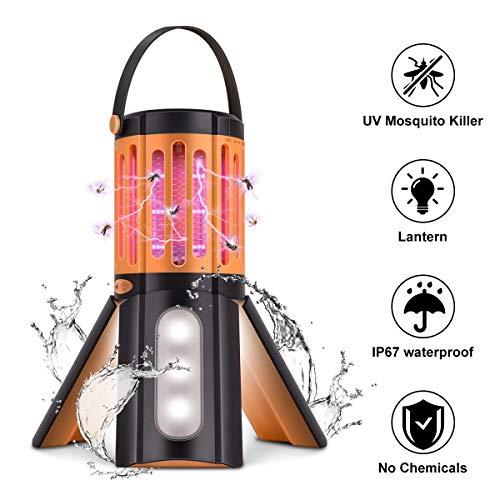 Seenlast Lampada Antizanzara Elettrica, 2-In-1 Zanzariera All'Aperto Luce UV Campeggio Repellente Trappola Zanzare Insetticida, Impermeabile IP67 Mosquito Killer Bug Zapper Per Esterno Interno