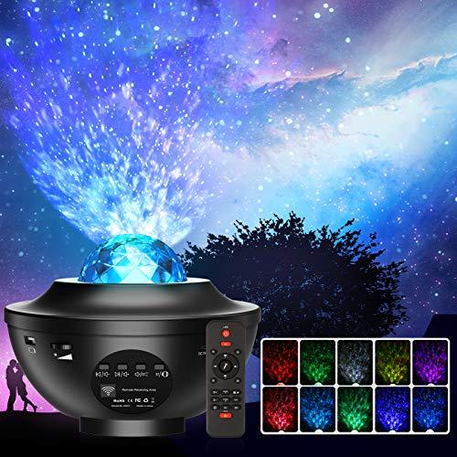 Projecteur Ciel Etoile, Planetarium Projecteur LED Veilleuse Enfant Rotatif 21 Modes, Océan Starry Lampe Projecteur Luminosité Réglable Bluetooth/Télécommande/Timer pour Décoration de Bébé Chambre