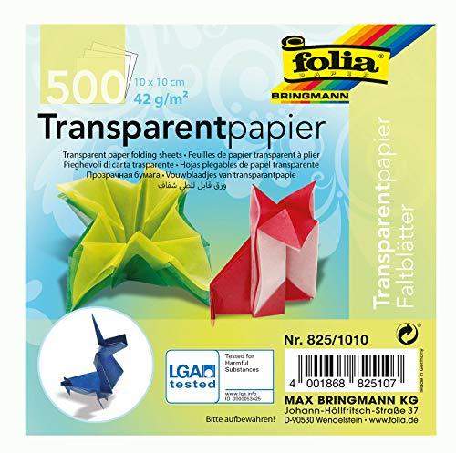 folia 825/1010 - Transparentpapier - Faltblätter, 10 x 10 cm, 500 Blatt, 42 g/qm, sortiert in 10 Farben - ideal für wunderschöne Faltfiguren und -formen