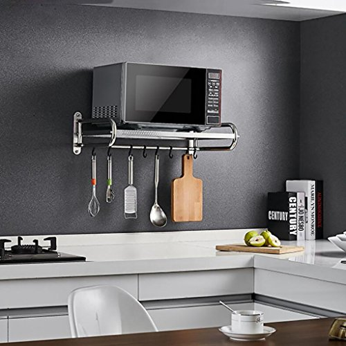 Shelf LYG Küchenregal, Praktische Wandmontierte Mikrowelle Rack Gewürzkocher Regal Multifunktions Edelstahl Küche Kommoden Sideboards (Size : 531mm)