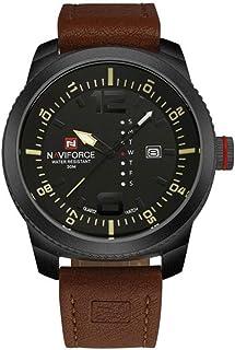 ساعة انالوج كلاسيكية بمينا سوداء وسوار جلد بولي يوريثين للرجال من نافي فورس - NF9063-BYBN