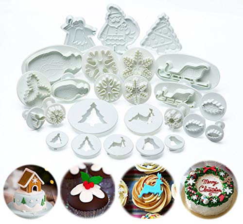 ilauke Christmas Cookie Cutters Pastry Fondant Stampers - Snowflake, Leaves, Santa Claus, Christmas Tree - Plunger Cutter Cake Decorating Embossing Tools, Set of 25 Pcs