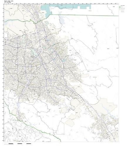 ZIP Code Wall Map of San Jose, CA ZIP Code Map Not Laminated