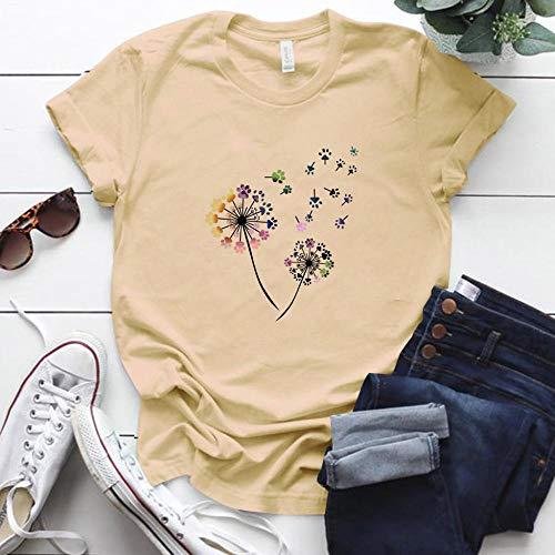 T-Shirt Femme Couleur Pissenlit Imprimé Tshirt Femmes Plus La Taille D'Été Drôle Tshirt Tee Shirt Femme À Manches Courtes Tops Femmes Vêtements XXL Be