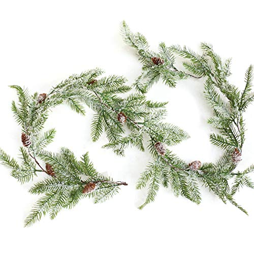 Coxeer Christmas Garland, Artificial Pine Garland Frosted Berry Pinecone Artificial Garland for Christmas Party Home Decoration