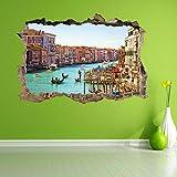 Pegatinas Góndola Canal Venecia 3D Etiqueta de la pared Mural Calcomanía Niños Decoración del...