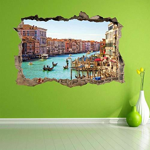 Pegatinas de pared Góndola Canal Venecia 3D Etiqueta de la pared Mural Calcomanía Niños Decoración del hogar 60×90CM