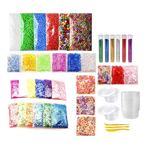 Floridivy 51pcs DIY Foam Bead Glitter Pailletten Sugar Papers Jars Set handgemaakte kleurrijke Foam Ball Slices DIY Toys Gereedschap Kit