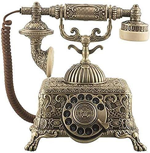 CJDM Teléfono Retro, teléfono móvil Fijo Antiguo de la antigüedad casera Europea de la línea Fija del Metal del dial rotatorio