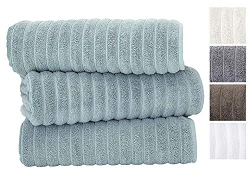 Classic Turkish Towels Luxury 600 GSM Bath Towel Set | Soft Thick and Absorbant Bathroom Towels, 100% Turkish Cotton Jacquard Rib Style (40X65 Bath Sheets, Spa Blue)