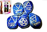 Free Booklet Jet International Crystal Therapy New Lapis Lazuli 5 Element Tumbled Stones Genuine Earth Wiccan Pagan Pouch Gift Air Water Earth Fire Spirit Pentacle Star Spiritual Psychic Metaphysical Worship Altar India Asia Stone Gemstone Quality