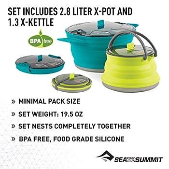 Sea to Summit X-Set 33 Lot de 2 casseroles et Bouilloire Bleu Pacific 2,8 l/1,3 l