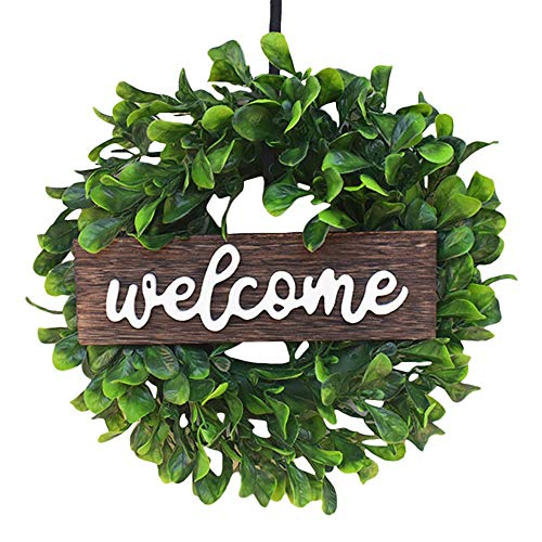 ZXY 13 Inches Artificial Boxwood Wreath Artificial Green Leaf Wreath Green Leaves with Greenery Wreath with A Plaid Bow for Front Door Wall Window Decoration