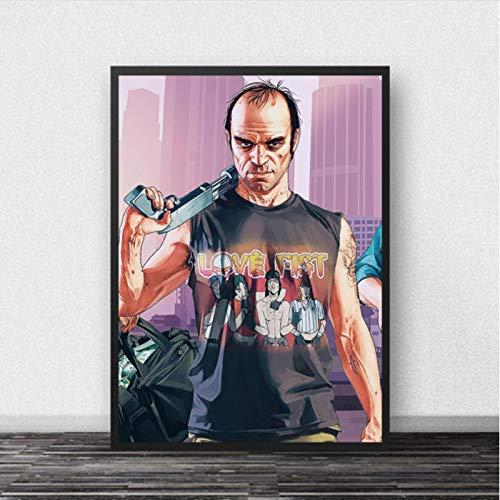 lubenwei GTA 5 Poster Leinwand Wandkunst Grand Theft Auto V Spiel Tapete Drucke Bar Aufkleber Wandbild Schlafzimmer Dekoration 50x70cm Kein Rahmen AW-1357
