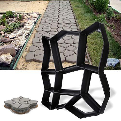 Hengda Pflasterform DIY Schwarz Kunststoff Pflasterschablone Pflastermacher fachgerechter Außenbereich Trittplatten Gießformen solide und stabil 43x43x4cm