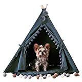 little dove Pet Teepee House Fold Away Pet Tent Furniture Cat Bed with Cushion 28 Inch Grey Pompom