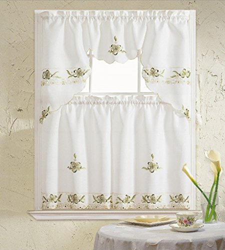 B&H Home Aster Floral Embroidered 3-Piece Kitchen Curtain Window Treatment (Sage)