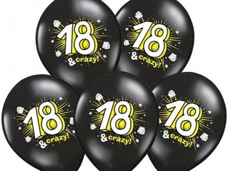 10 Ballons 18 ans & crazy noir anniversaire 30cm