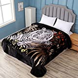 Hiyoko White Tiger Throw Velvet 75' by 90' Blanket, Cloudy Dream Animal. Warm for Bed, Sofa, and Couch. Less Fuzz, Almost Lints-Free, No Shedding