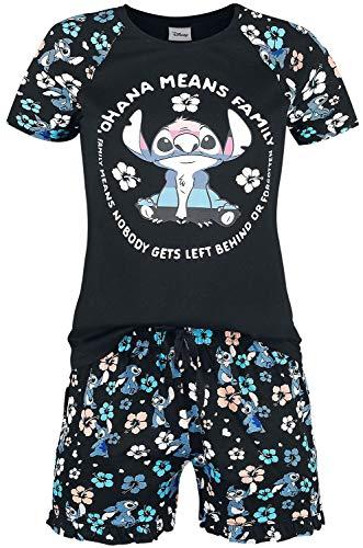 Lilo & Stitch Ohana Means Family - Circle Mujer Pijama Multicolor XL, 100% algodón,
