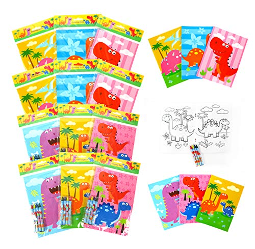 Tiny Mills Dinosaurs Coloring Book for Kids Party Favor Set with 12 Coloring Books and 48 Crayons Dinosaurs Jurassic Birthday Party Supplies Dinosaur Party Favor Bag Fillers