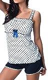 R-Dessous Exclusives Damen Nachtwäsche Viskose Pyjama kurz Schlafanzug Top mit Shorts Shorty sexy, Blau, Herstellergroesse XL (42)