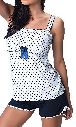 R-Dessous Exclusives Damen Nachtwäsche Viskose Pyjama kurz Schlafanzug Top mit Shorts Shorty sexy, Herstellergroesse S (34-36), Blau